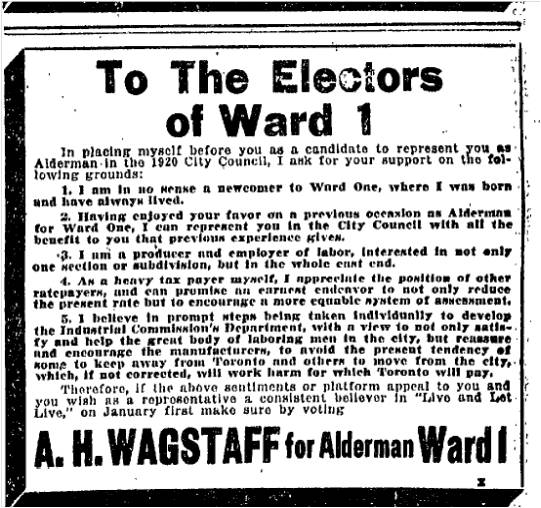This time Wagstaff was defeated. Toronto Star December 29, 1916