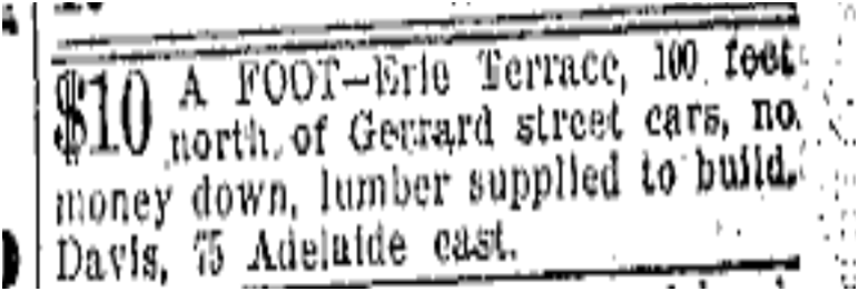 The lots were not moving as fast as expect and the worst winter in years had begun. Free lumber is offered to the taker. Toronto Star, Dec. 21, 1907