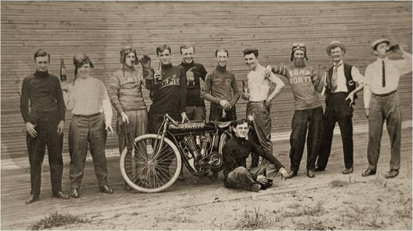 Racers hamming it up for the cameraJoseph Baribeau sitting in front of the Indian Motorcycle
