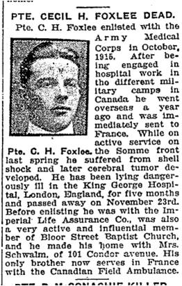 Toronto Star, Dec. 4, 1917 Condor Avenue
