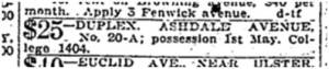 House for rent $25, Ashdale Avenue. Toronto Star, April 22, 1918.