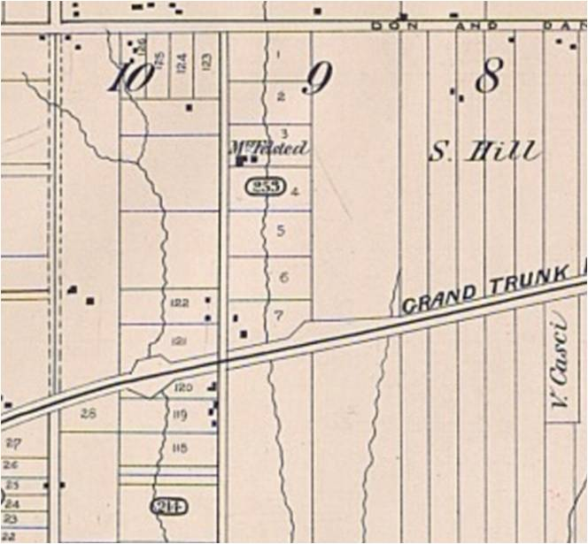 The Pocket lies in Lot 10. The stream running through it is Hasting's Creek. The western branch cut across the unopened sideline which was later built and became Jones Avenue. Ravina Crescent follows the route of this long-buried stream. Goad's Atlas, 1884