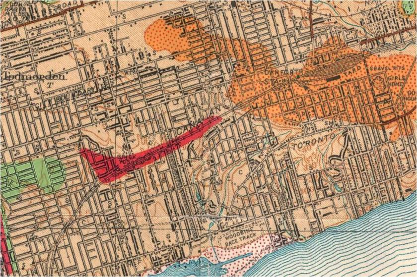 The red marks where the shale deposits were that Wagstaff and others used to make brick. The Pleistocene of the Toronto region: Including the Toronto interglacial formationA. P. Coleman, A. P.; Province of Ontario: Department of Mines, 1932