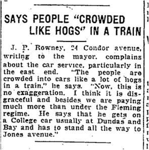 Toronto Star, Oct. 24, 1923 Condor Avenue