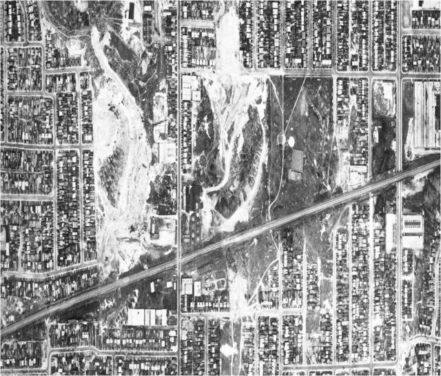 Aerial view of the brickyards on Greenwood north of the railway line. Dominion of Canada, 1942