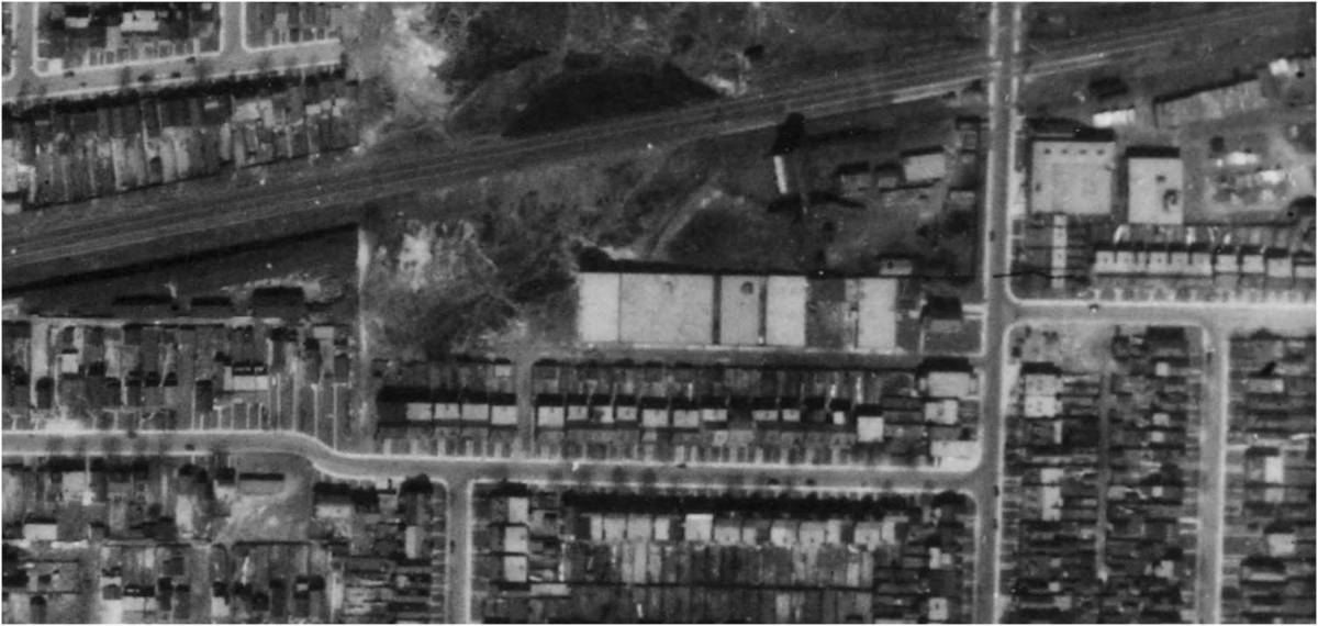 Close up of Wagstaff brick plant on Wagstaff Drive. Aerial view of the brickyards on Greenwood north of the railway line. Dominion of Canada, 1942