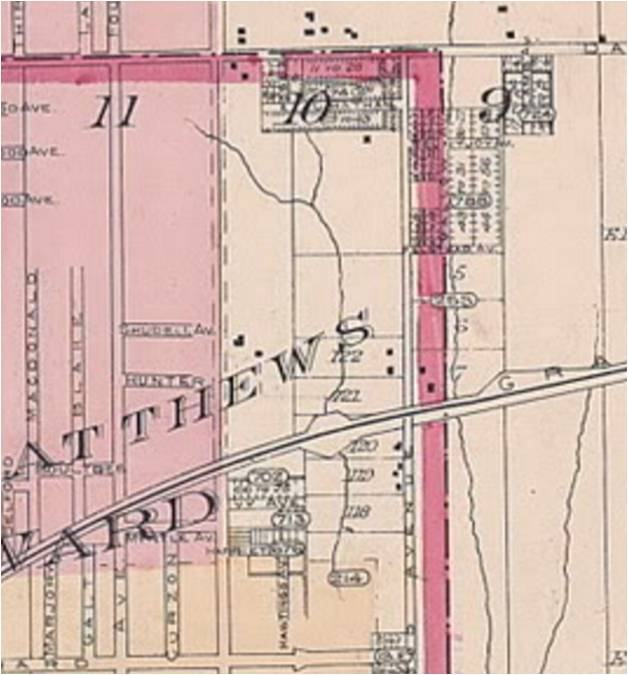By 1890, a amall area along the Danforth had been subdivided, but not yet built on. There were a few scattered houses in Lot 10 north of the track, the homes of brickmakers like the Hunters. Goad's Atlas, 1890