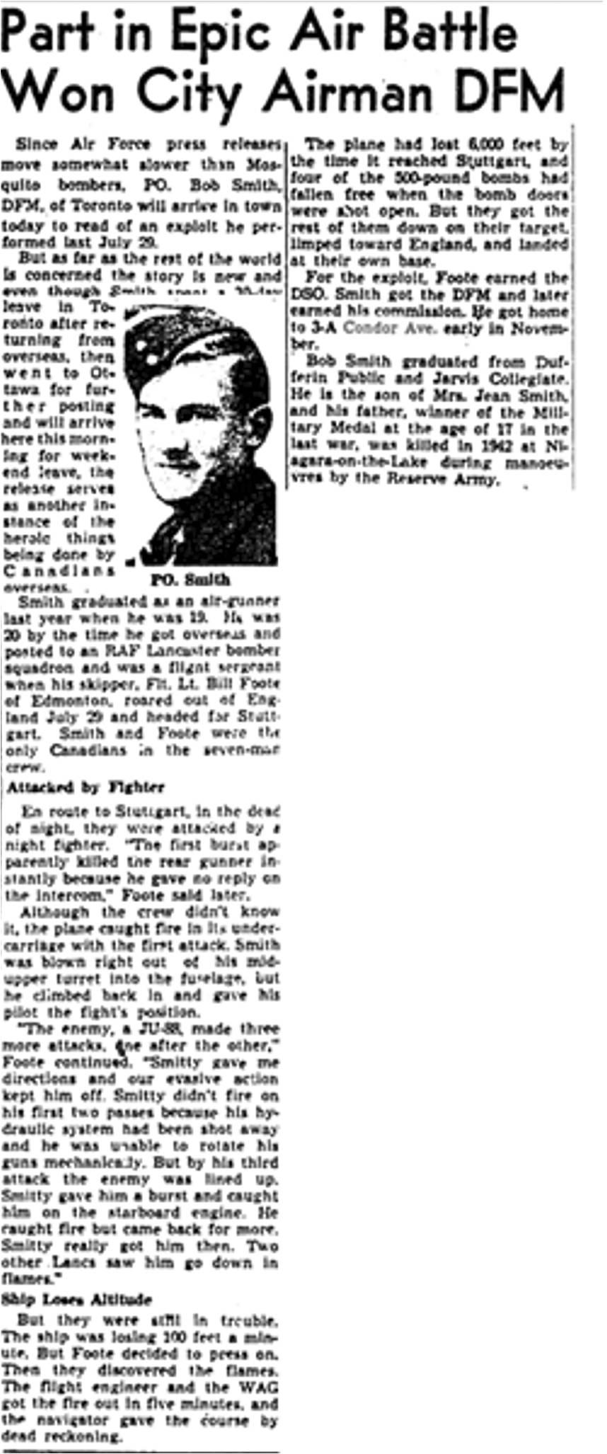 Globe and Mail, 09 Dec 1944 Condor Ave