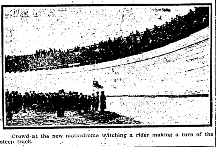 Only known photograph of the Toronto Motordrome, Toronto Star, May 21, 1914