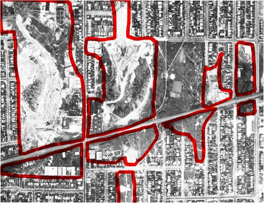 From the same 1942 aerial photo as above. I've outlined the brickpits on this aerial photo to emphasize just how much of my neighbourhood was made up of large artificial holes in the ground. One of the reasons I got into researching local history was because of curiosity about why things I see around me look like they do. Why are my neighbours' houses leaning in different directions off their foundations? Why is there a dip in the road here? Why have they put big green gas vent pipes at Alton and Gerrard? And why did they put the TTC Yard there?
