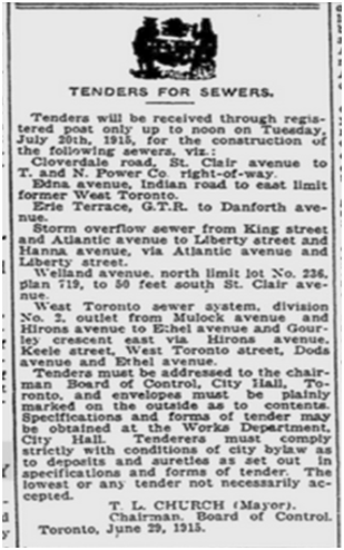 And then came sewers. Toronto World, July 1, 1914