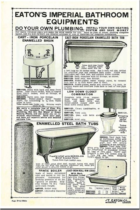 T. Eaton's catalogue offered a complete line of plumbing for do-it-yourselfers.