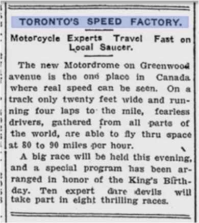 Motordrome Toronto Sunday World, June 3, 1914