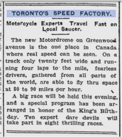 Motordrome Toronto Sunday World, June 3, 1914