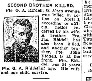 George Alexander Riddell Toronto Star, May 9, 1917