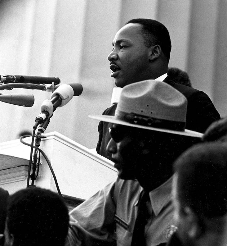 """Martin Luther King Jr., """"I Have a Dream"""" speech, 1963. Assassinated April 4, 1968. 1963 Public Domain, National Archives, USA"""