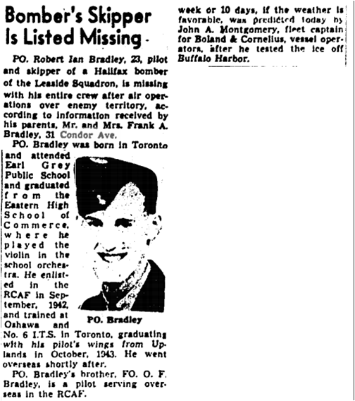 Globe and Mail, March 14, 1945 Missing pilot and crew Condor Ave