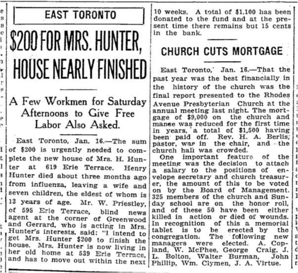 Her neighbours built and paid for a new house at 617 Erie Terrace. Toronto Star, Jan. 16, 1919