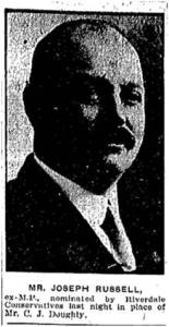 Joseph Russell Jr. Photo Toronto Star, June 17, 1914.