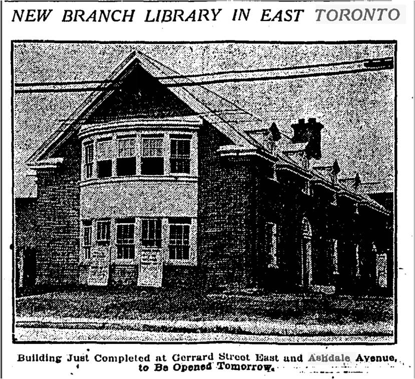 Globe, May 14, 1924 This may be the only surviving photograph of the new Gerrard  from the opening of the Gerrard Ashdale Library. The negative has been badly damaged.