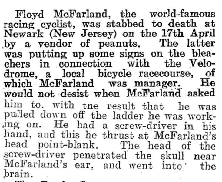 McFarland Stabbed to DeathAll Sorts of Sport. Vol. XV, Issue 778, May 28, 1915, Page 23
