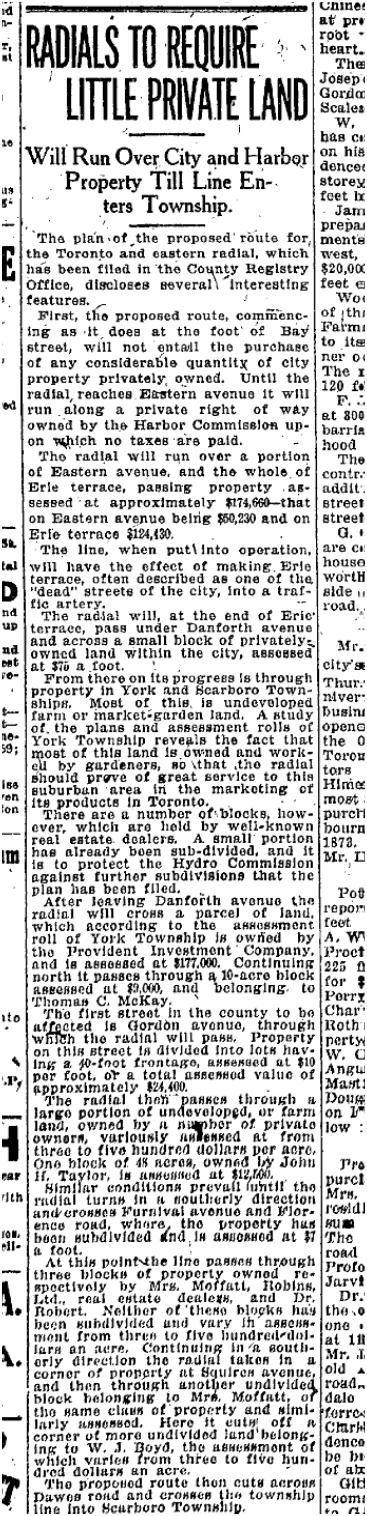 Erie Terrace did not count for much. Toronto Star, Nov 6, 1920