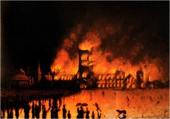 University College Fire, 1890, by John Edwin Usher. In the Collection of University College, the University of Toronto.