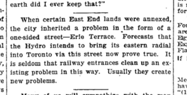 The Hydro Radial was not built. Toronto Star, Nov 2, 1920