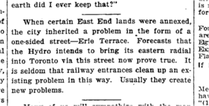 The Hydro Radial was not built. Toronto Star, Nov 2, 1920