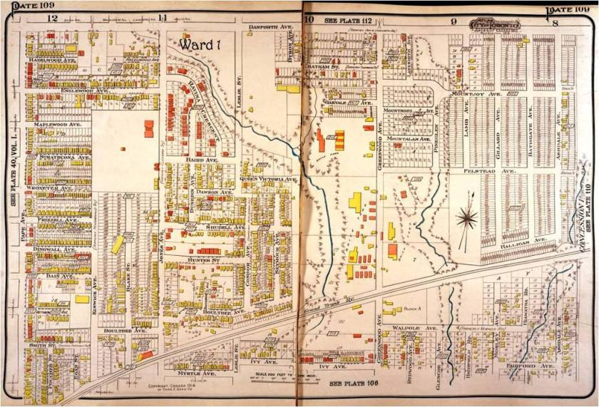 Goad's Atlas 1913. A. H. Wagstaff's brickplant was on Greenwood Avenue on the west side just south of the railway tracks. His brick pit was north of the tracks on the west side of Greenwood where the TTC Subway Yard is now. The creek on the left is Hastings Creek. It ran through Wagstaff's Brickyard.