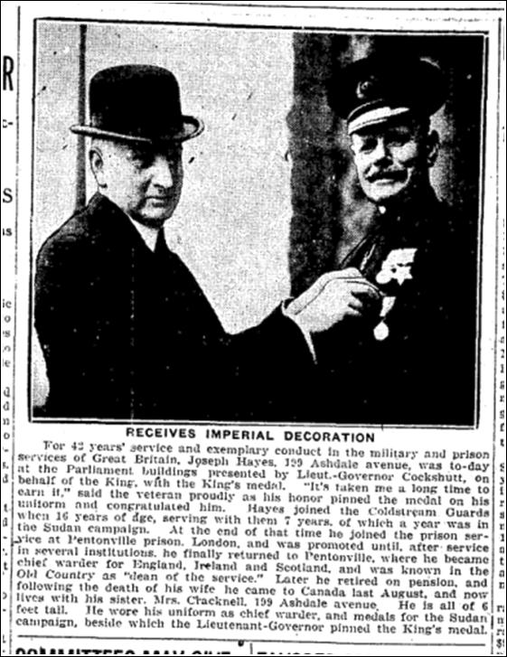 Medal Joseph Hayes 199 Ashdale, Toronto Star, Jan, 21, 1926
