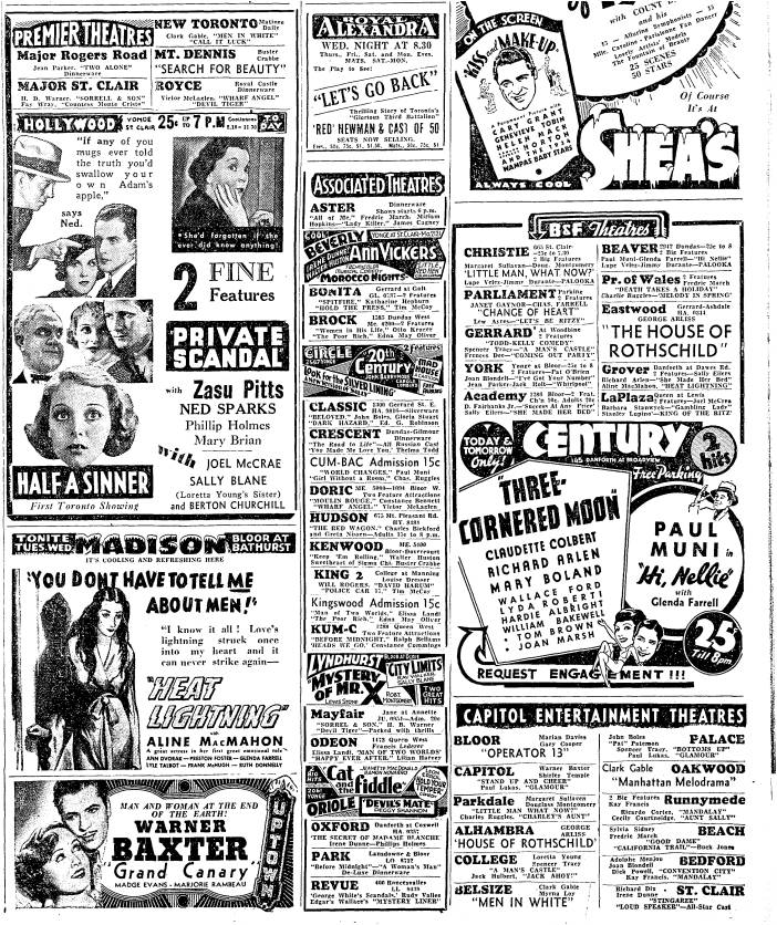 Perhaps the boys stole so they could go to the movies. One Catholic priest downtown used to let kids into a church-owed movie house but only if they went to confession first. Toronto Star, July 30, 1934