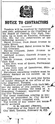 Toronto Star, Feb. 19, 1912 Tenders, Baird, Earl Grey, Ravina