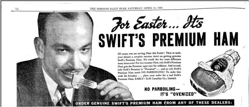 This rather creepy ad for an Easter ham subtly reminds us that most people on Ashdale could not afford to eat meat regularly unless it was  Hormel's SPAM. The list of stores below this ad includes stores on Ashdale. Toronto Star, April 11, 1936