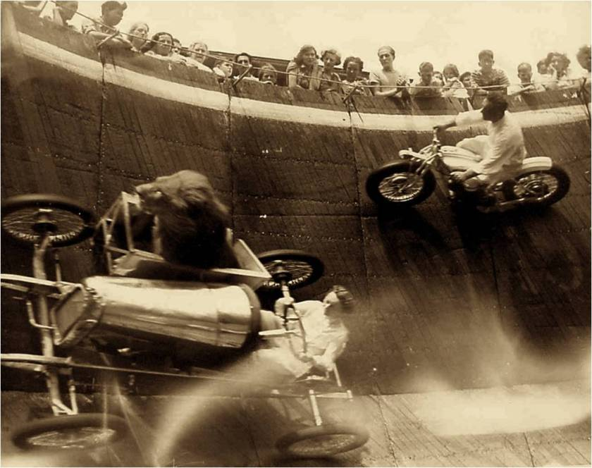 The Motordromes all disappeared and, while motorcycle racing continued on more conventional tracks, the wall of death lived on as sideshow attraction in the circus. The Wall of Death, Revere Beach, MA, c. 1929http://selvedgeyard.com/2009/12/05/the-wall-of-death-daredevils-lions-riders-fairs-oh-my/ accessed Feb. 26, 2016