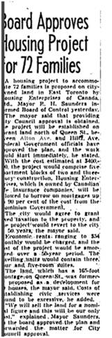 This CMHC housing was originally built for World War II veterans and their families. It is now Greenwood Court Apartments. Globe March 12 1946