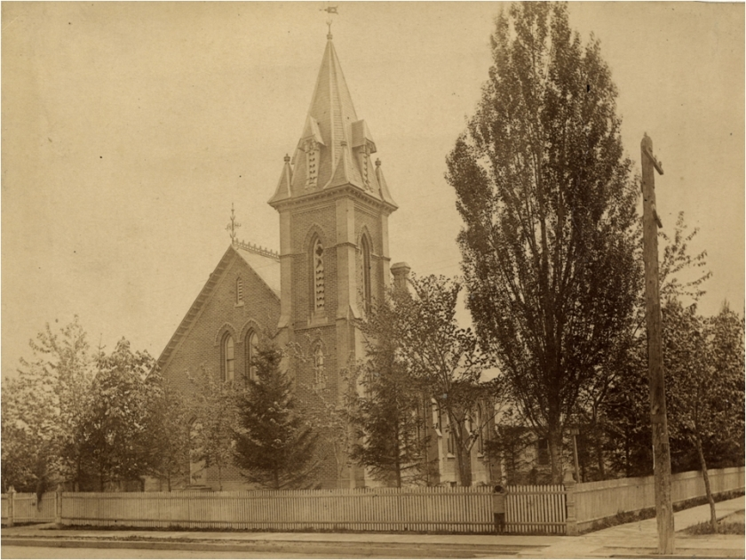Leslieville Presbyterian Church, now Queen Street Presbyterian Church, at the corner of Queen and Carlaw. Photo from the Toronto Public Archives.