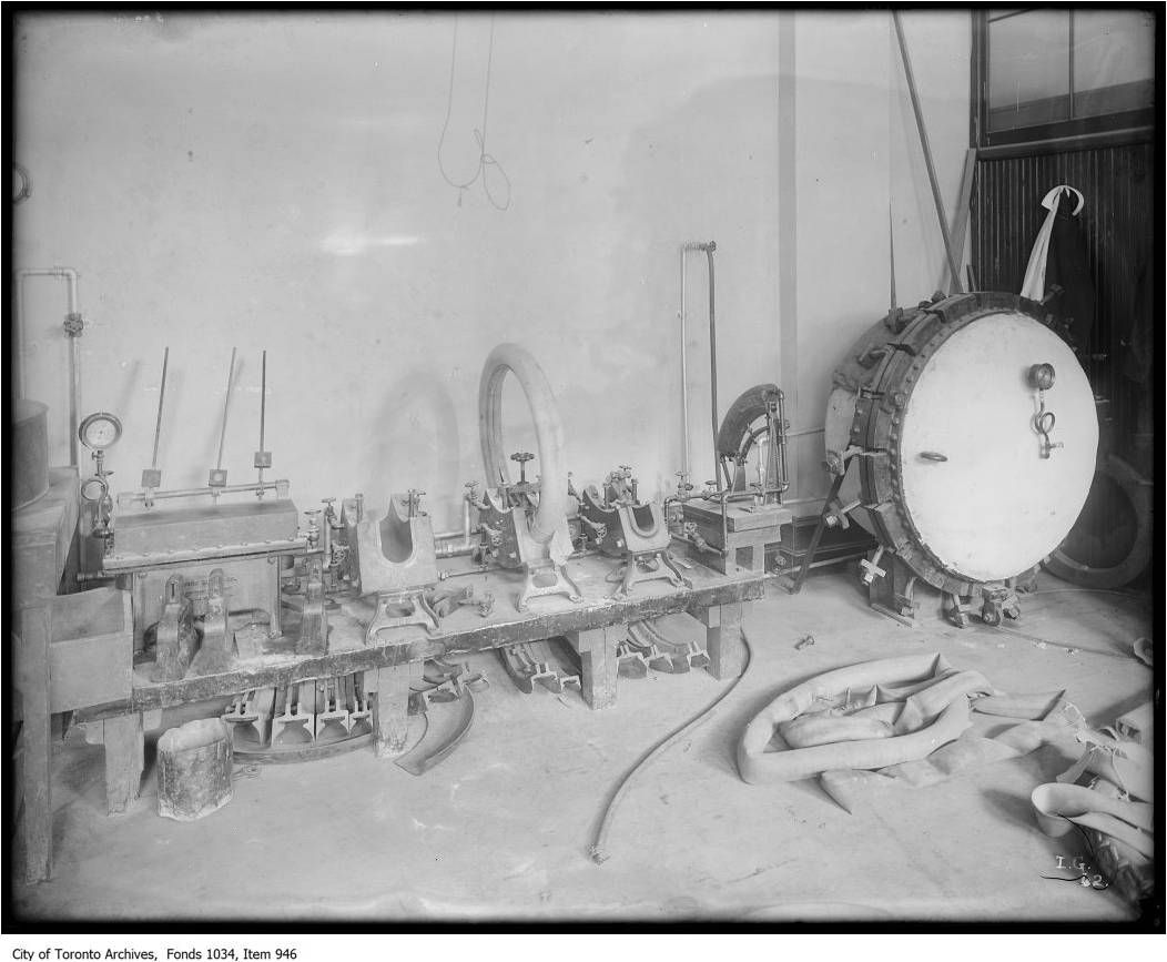 Rubber tire manufacturing using gas-fired steam heat [ca. 1922] City of Toronto Archives