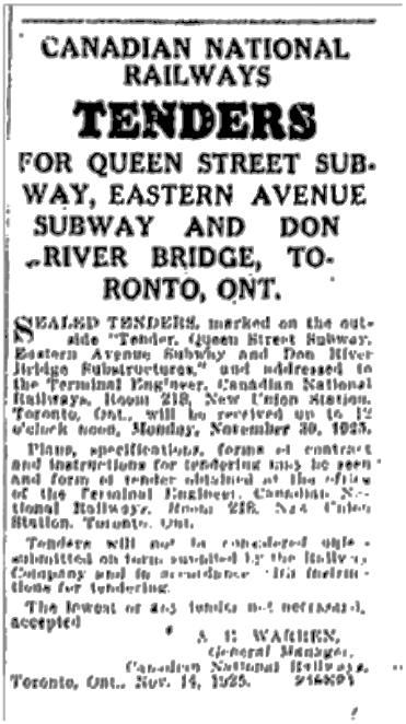 Call for Tenders. Toronto Star, Nov. 17. 1925