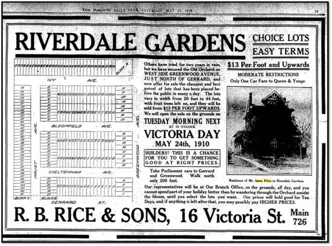 Riverdale Gardens and the Isaac Price House Toronto Star, May 21, 1910