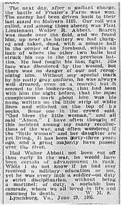 Death of Walter Randolph Abbott, From the Richmond Times Dispatch, June 1905.