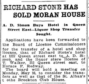 Toronto Star, May 2, 1910  Richard Stone died on Oct. 2, 1914