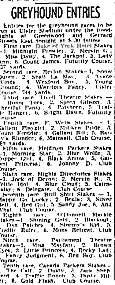 19410914GM Greyhounds Ulster Stadium