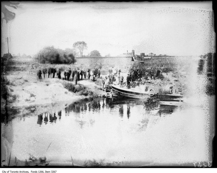 "Rum-running motor boat, Ashbridges Bay. - October, 1923 The negative has been damaged by ""vinegar syndrome""."