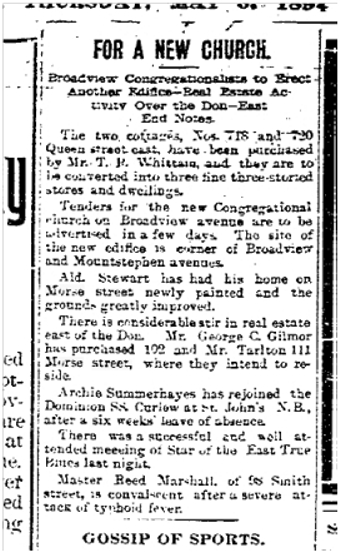 102 and 111 Morse St Toronto Star May 3, 1894
