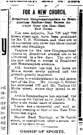 111 Morse St Toronto Star May 3, 1894