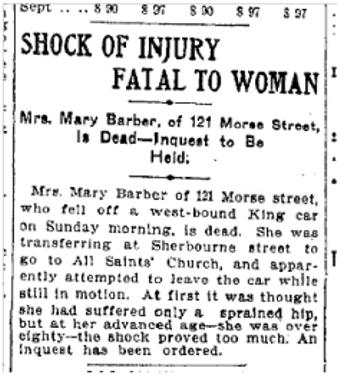 121 Morse St Toronto Star, Sept. 11, 1907