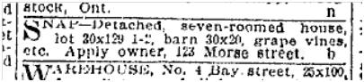 123 Morse Street  Toronto Star Sept. 12, 1903