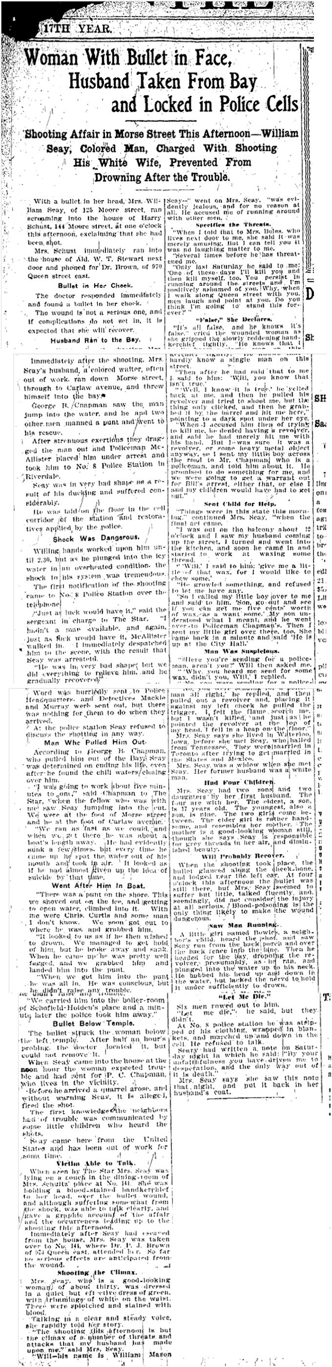 125 Morse Street Toronto Star, Dec. 28, 1908
