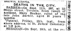 131 Morse St.  Toronto Star, Sept. 11, 1907